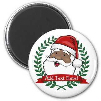 Jolly Ethnic Santa Custom Text Magnet