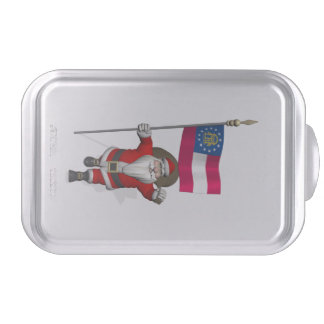 Jolly Father Christmas With Ensign Of Georgia Cake Pan