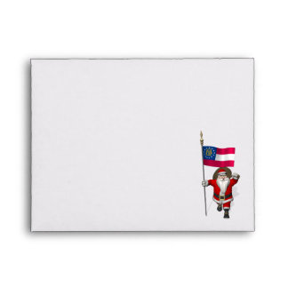 Jolly Father Christmas With Ensign Of Georgia Envelope