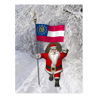 Jolly Father Christmas With Ensign Of Georgia Postcard