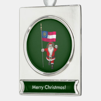 Jolly Father Christmas With Ensign Of Georgia Silver Plated Banner Ornament