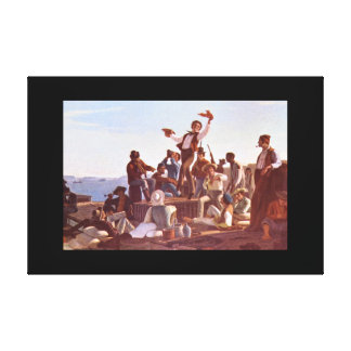 Jolly Flatboatmen', George Caleb_Groups and Figure Canvas Print