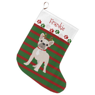 Jolly French Bulldog Buff Color Large Christmas Stocking