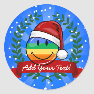 Jolly Gay Pride Flag Christmas Style Classic Round Sticker