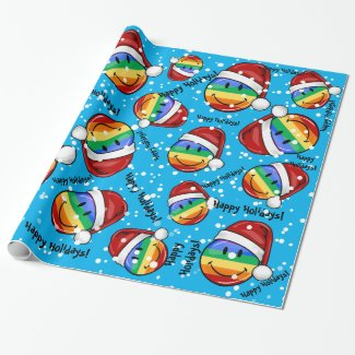 Jolly Gay Pride Flag Christmas Style Wrapping Paper