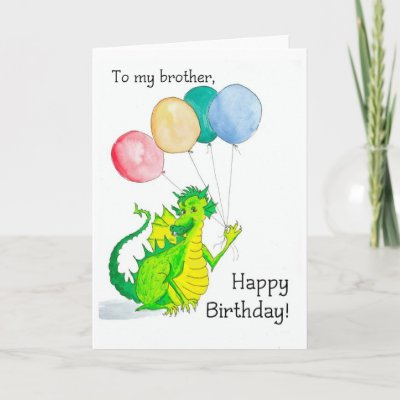 birthday card for a brother, with a jolly green and yel