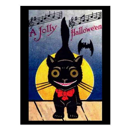 Jolly Halloween Cat and Bat Post Card