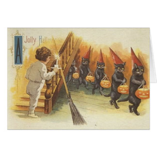Jolly Halloween Cats Trick or Treating Greeting Card