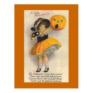 """ Jolly Halloween"" Vintage Halloween Card Post Card"