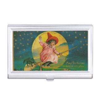 Jolly Halloween Vintage Witch Business Card Case