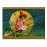 Jolly Halloween Vintage Witch Post Card