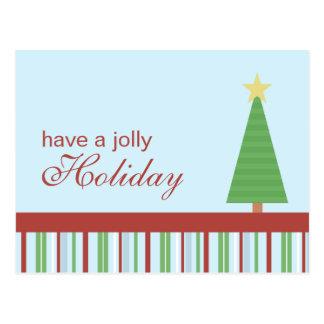 Jolly Holiday Green Tree Holiday Postcard