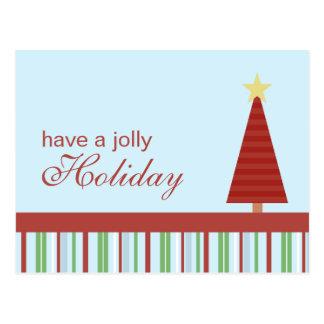 Jolly Holiday Red Tree Holiday Postcard