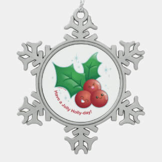 Jolly Holly Snowflake Pewter Christmas Ornament