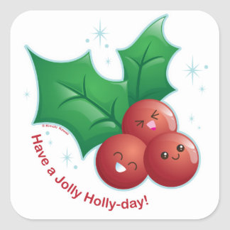Jolly Holly Square Sticker