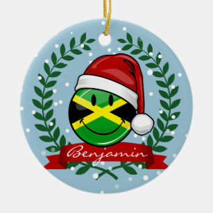 jolly jamaican flag christmas style ceramic ornament