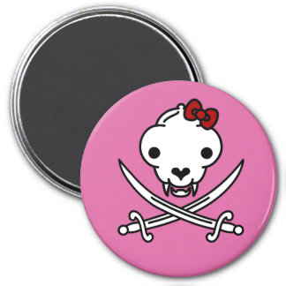 Jolly Kitty Pirate Skull and Bones 3 Inch Round Magnet
