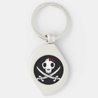 Jolly Kitty Pirate Skull and Bones Silver-Colored Swirl Metal Keychain