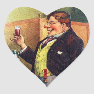 Jolly Man Toasting with Cognac Heart Sticker