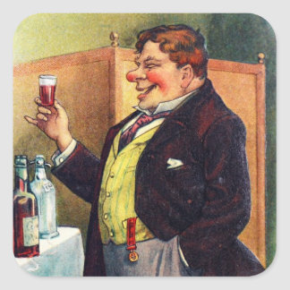 Jolly Man Toasting with Cognac Square Stickers