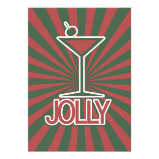 Jolly Martini Christmas Custom Announcements