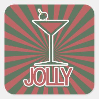 Jolly Martini Christmas Square Sticker