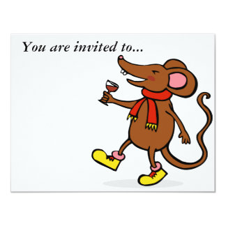 Jolly Mouse 4.25x5.5 Paper Invitation Card