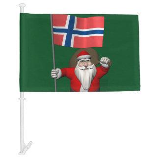 Jolly Nisse Visiting Norway Car Flag