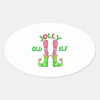 JOLLY OLD ELF OVAL STICKER