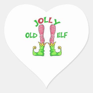 JOLLY OLD ELF HEART STICKER