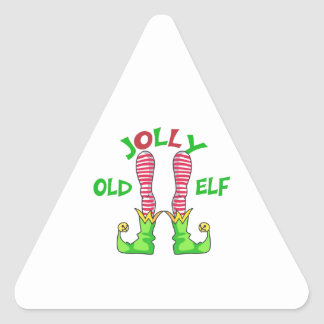 JOLLY OLD ELF TRIANGLE STICKER