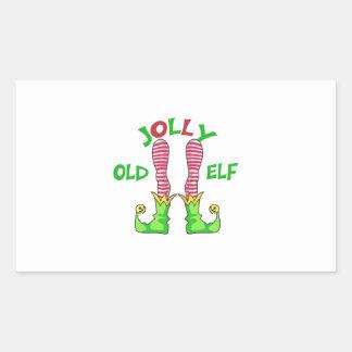 JOLLY OLD ELF RECTANGULAR STICKER