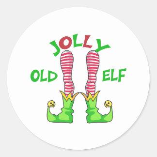 JOLLY OLD ELF CLASSIC ROUND STICKER