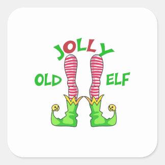 JOLLY OLD ELF SQUARE STICKER