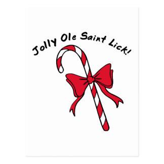 Jolly Ole Saint Lick Candy Cane Postcard