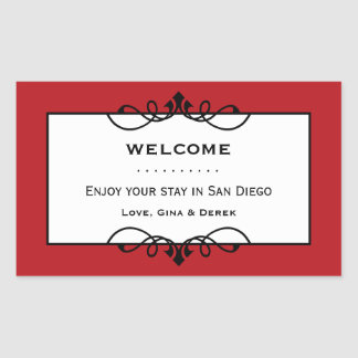 Jolly red wrought iron frame out of town gift bag rectangular sticker