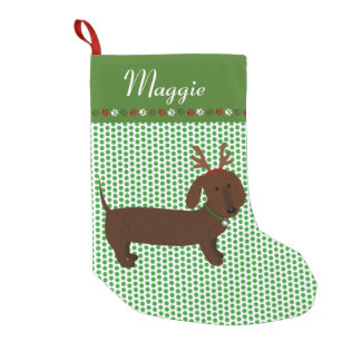 Jolly Reindeer Brown Dachshund Personalized Small Christmas Stocking