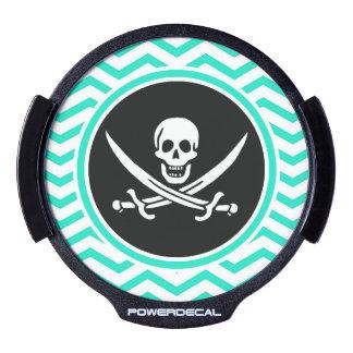Jolly Roger; Aqua Green Chevron LED Car Decal