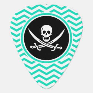 Jolly Roger; Aqua Green Chevron Pick