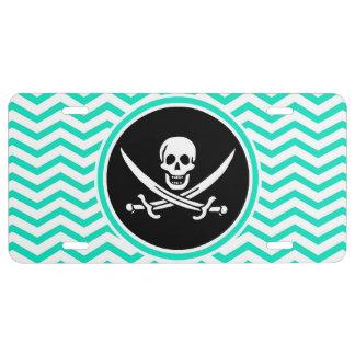 Jolly Roger; Aqua Green Chevron License Plate