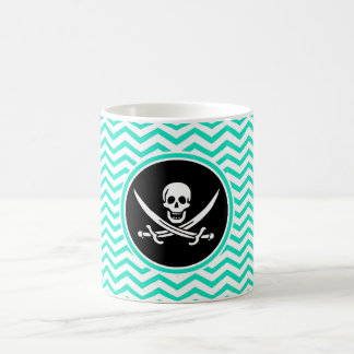 Jolly Roger; Aqua Green Chevron Classic White Coffee Mug