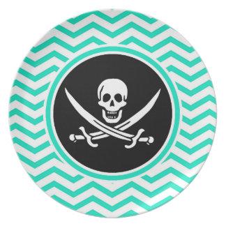 Jolly Roger; Aqua Green Chevron Plates