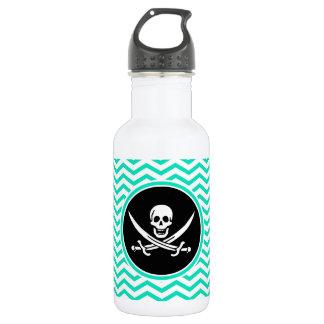 Jolly Roger; Aqua Green Chevron Stainless Steel Water Bottle