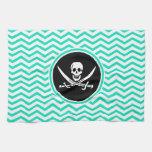 Jolly Roger; Aqua Green Chevron Towels