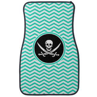 Jolly Roger; Aqua Green Chevron Floor Mat