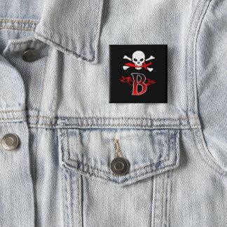 Jolly Roger B Monogram Initial Button