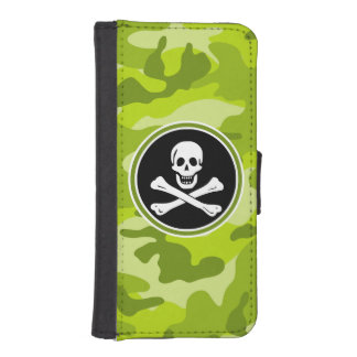 Jolly Roger; bright green camo, camouflage Phone Wallet