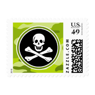 Jolly Roger; bright green camo, camouflage Postage