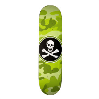 Jolly Roger bright green camo camouflage Skateboard Deck