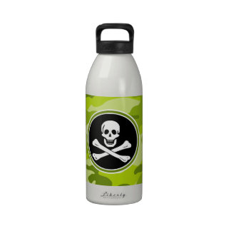 Jolly Roger bright green camo camouflage Drinking Bottle